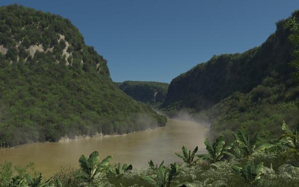 Фото обои зелень, лес, туман, река, холмы, арт, дымка