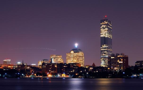 Фото обои ночь, огни, City, Бостон, skyline, Lights, Boston