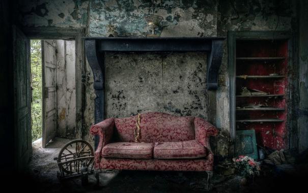 Фото обои цветы, диван, дверь