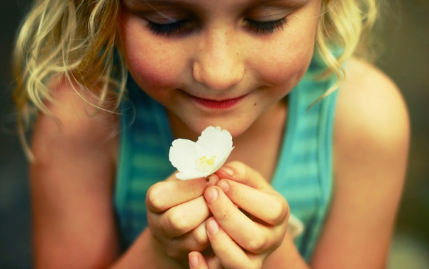Фото обои цветок, настроение, девочка