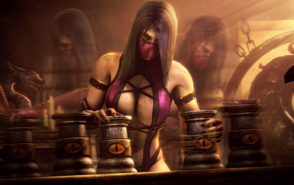 Фото обои грудь, девушка, игра, костюм, mortal kombat, mileena, fighting