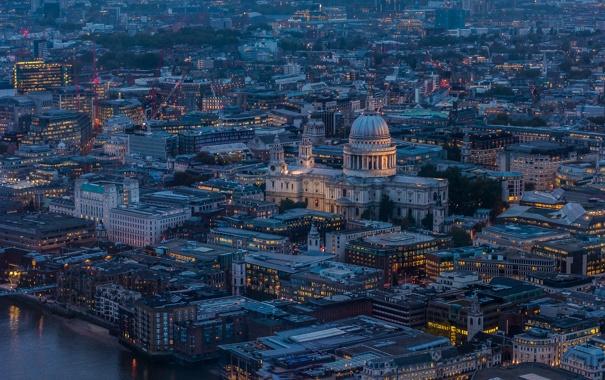Фото обои собор Святого Павла, англия, вечер, огни, Лондон, панорама, дома