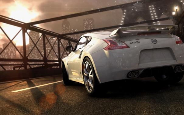 Фото обои мост, гонка, фары, nissan, спойлер, Ubisoft, нью йорк