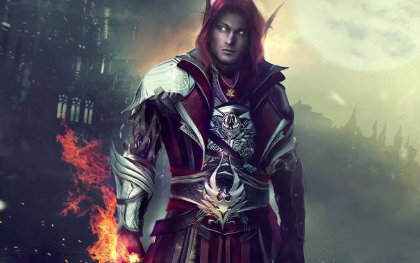 Фото обои огонь, эльф, мужчина, World of Warcraft, Warcraft, wow, art