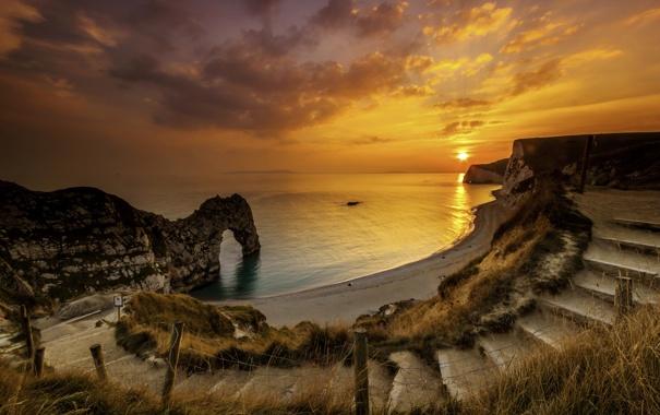 Фото обои море, пляж, закат, камни, скалы, побережье, спуск