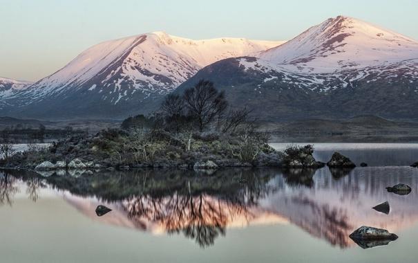 Фото обои pink, winter, mountain, sunrise, Scotland, Glencoe, Lochan