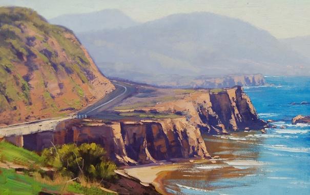 Фото обои дорога, море, пейзаж, холмы, побережье, арт, artsaus