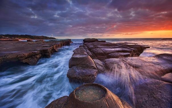 Фото обои брызги, камни, маяк, выдержка, Австралия, Новый Южный Уэльс