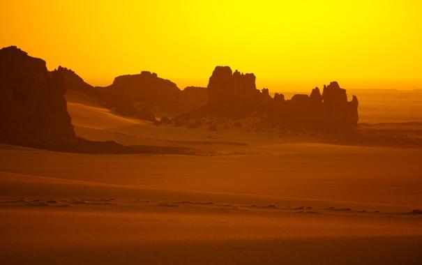Фото обои песок, свет, горы, жёлтый, пустыня