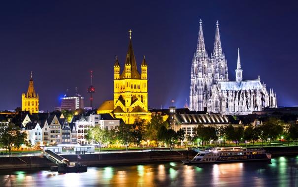 Фото обои город, огни, река, готика, вечер, Германия, освещение