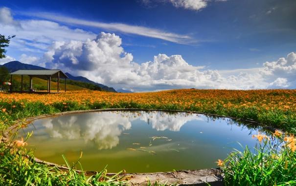 Фото обои небо, пейзаж, горы, басеин