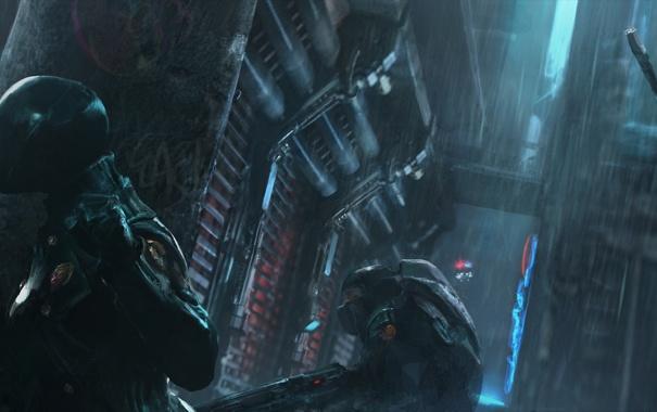 Фото обои ночь, город, будущее, оружие, дождь, полиция, группа
