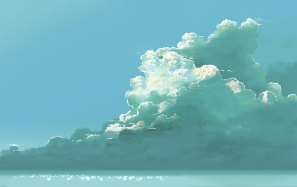 Фото обои море, небо, облака, арт, hatsuame syoka