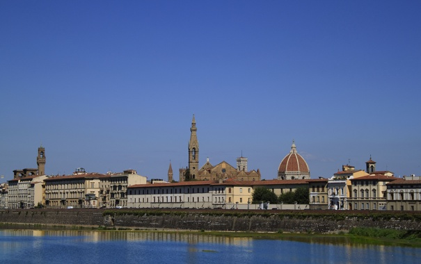 Фото обои небо, пейзаж, дома, Италия, Флоренция, Дуомо, река Арно