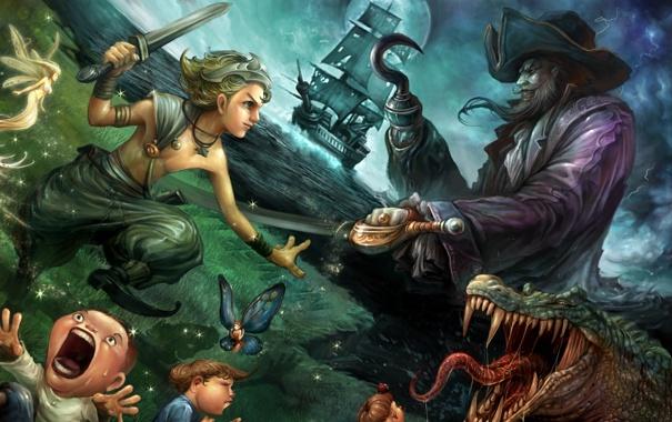 Фото обои дети, луна, корабль, сказка, крокодил, фея, фэнтези