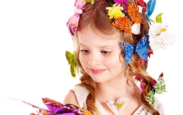 Фото обои бабочки, цветы, Girl, блондинка, девочка, красивая, прелесть