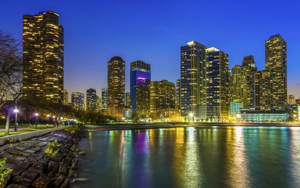 Фото обои вода, ночь, город, огни, отражение, река, здания