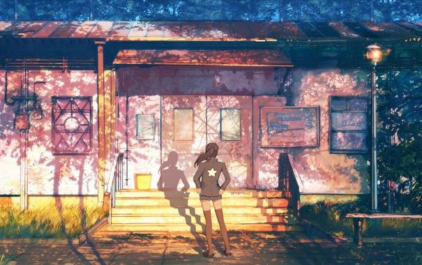 Фото обои лето, девушка, здание, арт, фонарь, ступени, тени