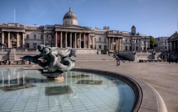 Фото обои Англия, Лондон, фонтан, Трафальгарская площадь