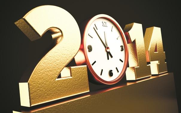 Фото обои золото, стрелки, часы, новый год, new year, 2014