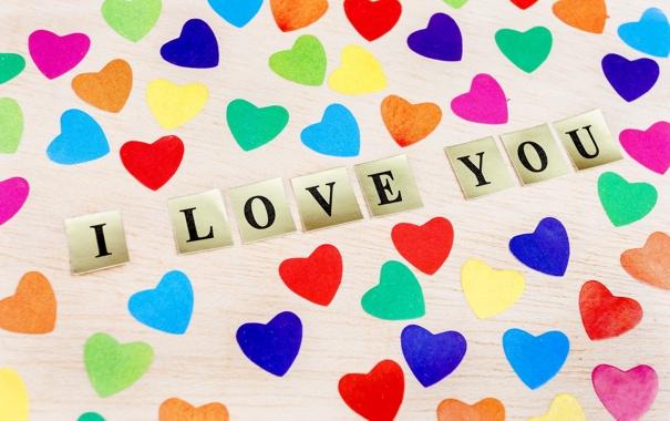Фото обои colorful, сердечки, love, I love you, heart, romantic