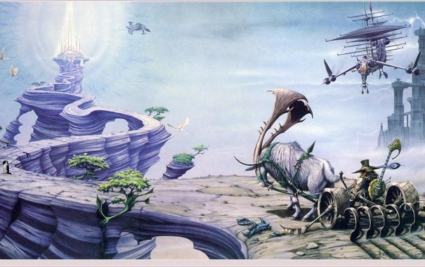 Фото обои замок, фантастика, скалы, повозка, Rodney Matthews, летающий корабль