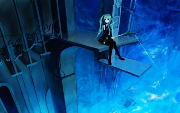 Фото обои девушка, улыбка, высота, лестница, vocaloid, hatsune miku, удочка