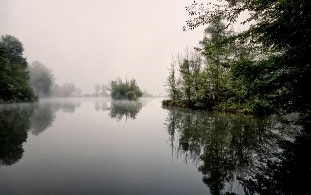 Фото обои пейзаж, туман, озеро, утро