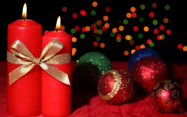 Фото обои шарики, праздник, рождество, Свечи, Новый год