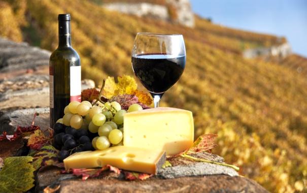 Фото обои осень, вино, красное, бокал, бутылка, сыр, виноград