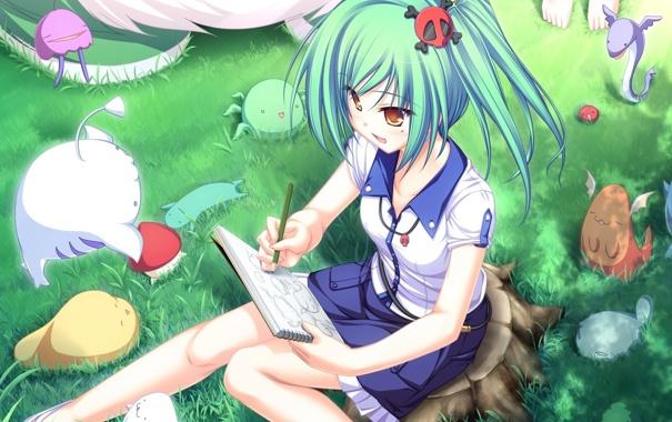 Фото обои лето, аниме, девочка, художница