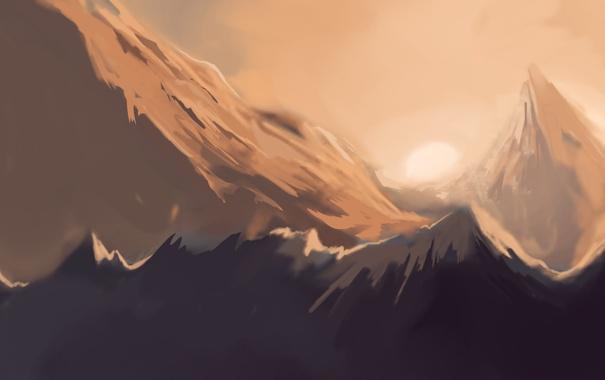 Фото обои снег, закат, горы, вершины, арт, гряда