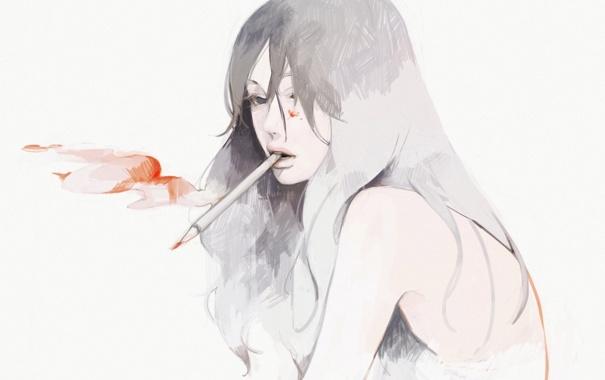 Фото обои девушка, рисунок, арт, карандаш, tae