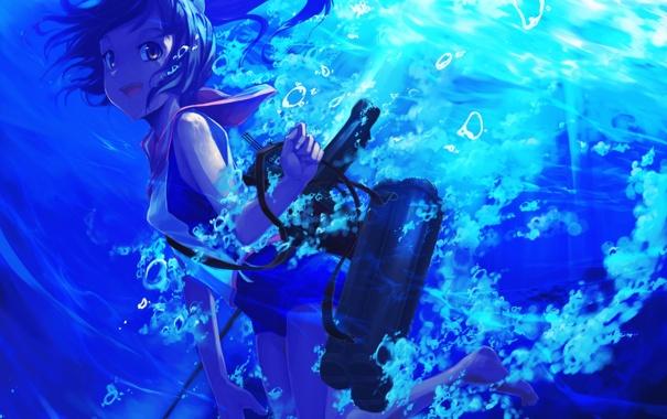 Фото обои море, девушка, радость, пузыри, оружие, art, kantai collection