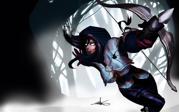 Фото обои лес, девушка, доспехи, бег, Diablo, арбалет, Demon Hunter