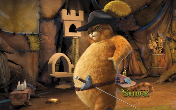 Фото обои мультфильм, кошак, толстый, шрек 4