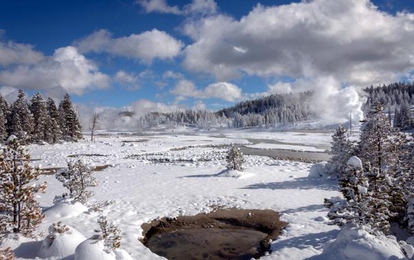 Фото обои landscape, winter, Yellowstone National Park, Norris Geyser Basin