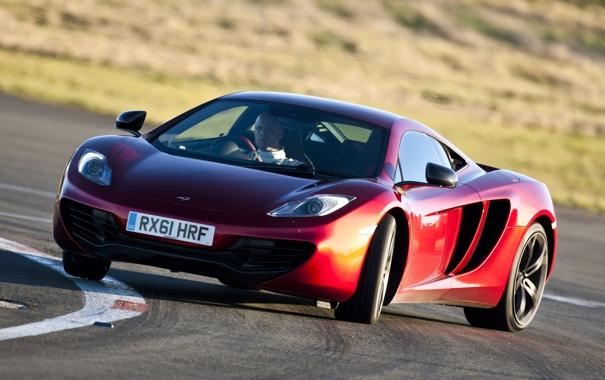 Фото обои красный, McLaren, занос, Макларен, суперкар, дрифт, передок