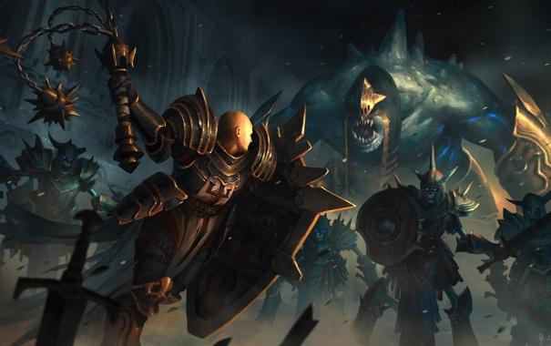 Фото обои оружие, воин, арт, монстры, битва, нежить, Diablo III