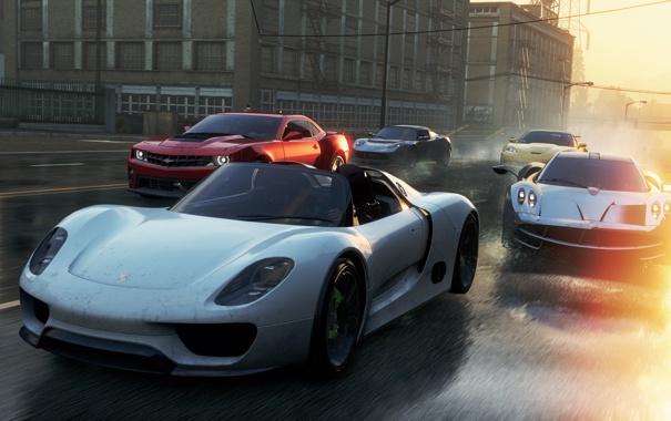 Фото обои улица, гонка, McLaren, Porsche, Chevrolet, тачки, Lotus