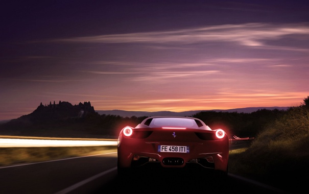 Фото обои Небо, Красный, Вечер, Авто, Дорога, Феррари, Ferrari