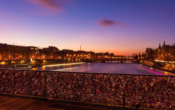 Фото обои ночь, мост, огни, река, Франция, Париж