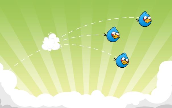 Фото обои полет, игра, птички, game, отряд, angry birds