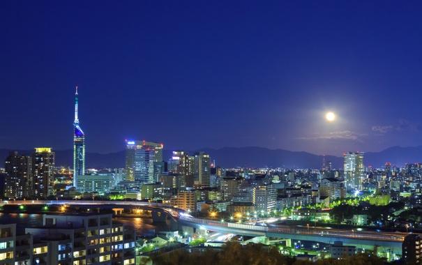 Фото обои небо, ночь, огни, река, луна, дороги, дома