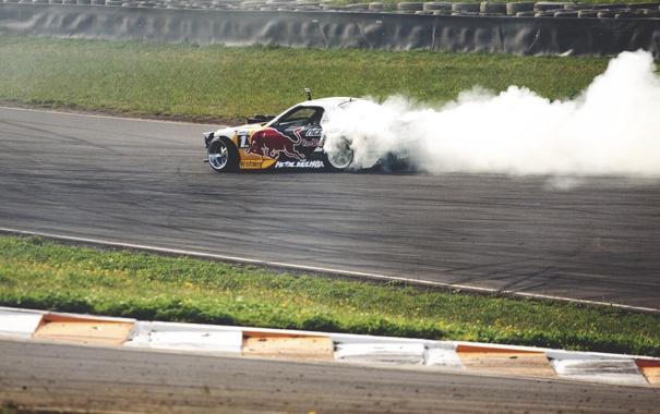 Фото обои гонка, дым, дрифт, drift, mazda, rx7, race
