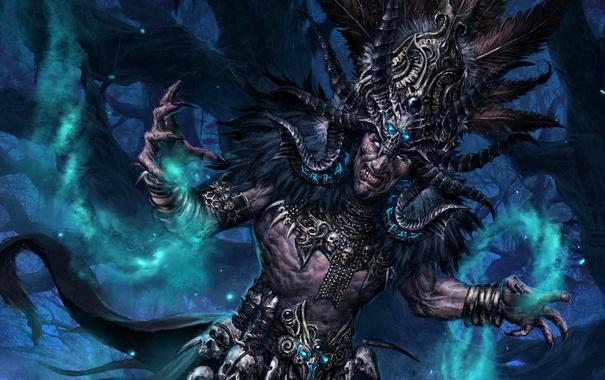 Фото обои лес, магия, арт, diablo 3, шаман, witch doctor