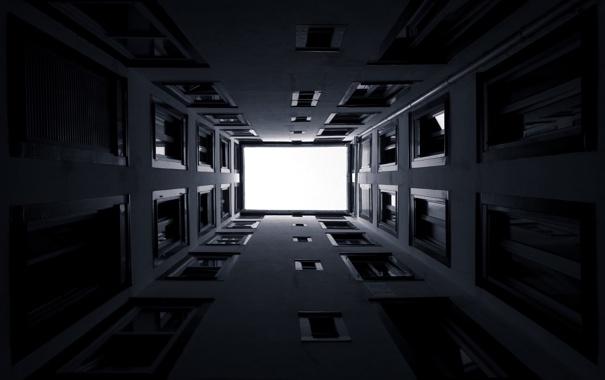 Фото обои дом, фото, обои, стены, здание, окна, чёрно-белое