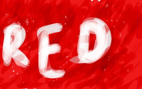 Фото обои красный, надпись, red