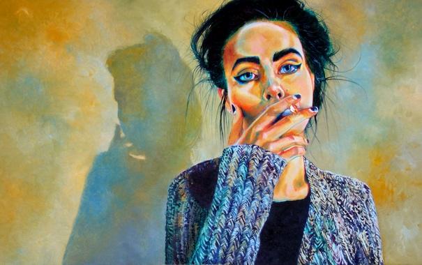 Фото обои взгляд, девушка, арт, сигарета, голубые глаза, курит