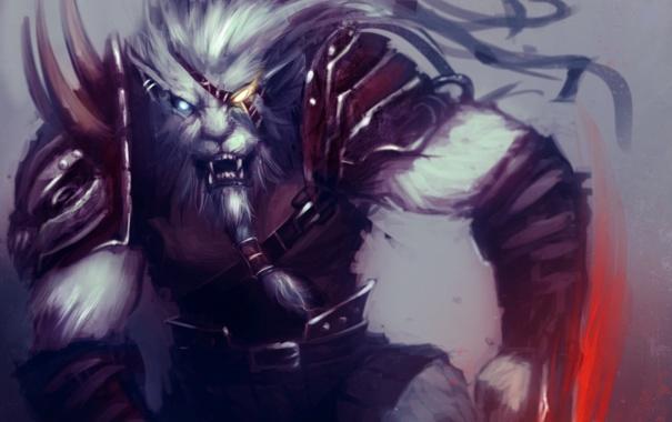 Фото обои League of Legends, ArtisticPhenom, LoL, зверь, арт, зубы, Rengar